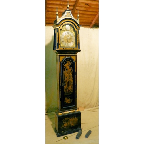841 - William Fairy, London George III Chinoiserie 8 Day Striking Longcase Clock having turned finials on ...