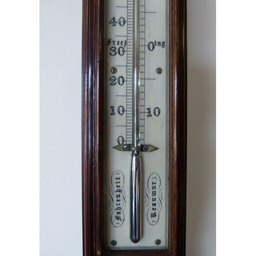 842 - W J Calmon & Co London 19th Century Mahogany Stick Barometer and Thermometer 97cm high...