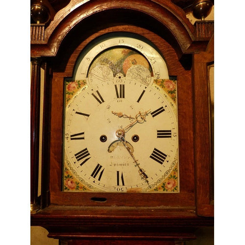 850 - Richard Cole, Ipswich 19th Century Oak 8 Day Striking Longcase Clock having arched painted dial with...