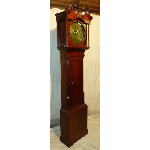 851 - John Shepley, Glossop 18th Century Mahogany and Oak 8 Day Striking Longcase Clock having swan neck c...