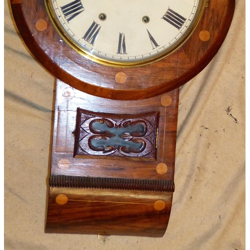 852 - A 19th Century Walnut Round Drop Dial Hanging Wall Clock with inlaid decoration, white painted dial,...