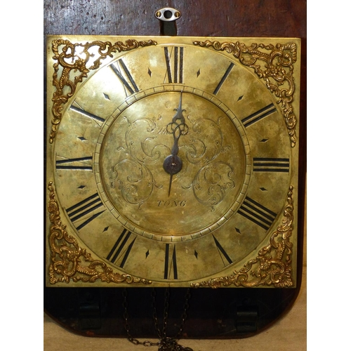 857 - Tong, Striking Longcase Clock Movement (mounted to board, no case) with weight and pendulum, dial 29...