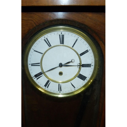 858 - A 19th Century Walnut Vienna Hanging Wall Clock with carved raised, shell, scroll and leaf decoratio...