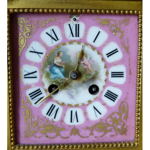 863 - H P & Co Gilt Metal Clock Garniture having all over Sevres panels on pink ground with multicoloured ...