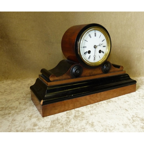 864 - Japy Freres Walnut and Ebonised 8 Day Striking Drum Cased Mantle Clock having white enamel dial with...