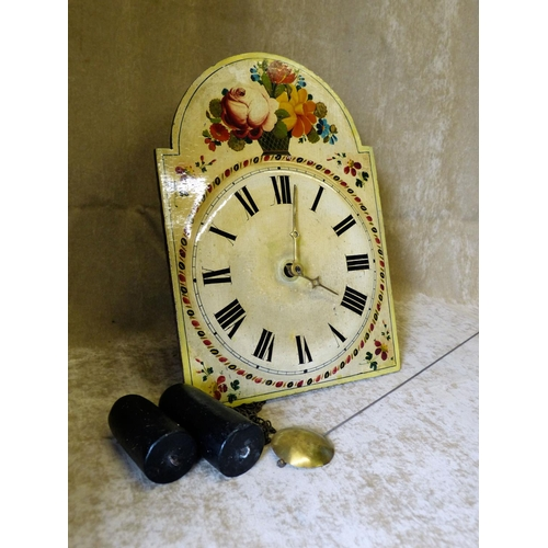 870 - An Arched Wooden Painted Hanging Wall Clock with floral and leaf decoration, 39cm high...