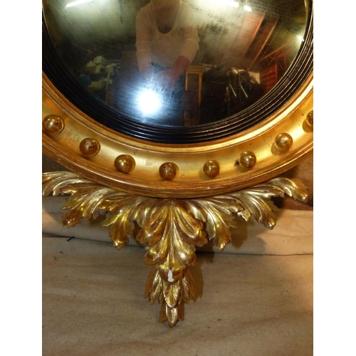 882 - A 19th Century Gilt Hanging Convex Wall  Mirror having seahorse motif to top, raised ball inner rim ...