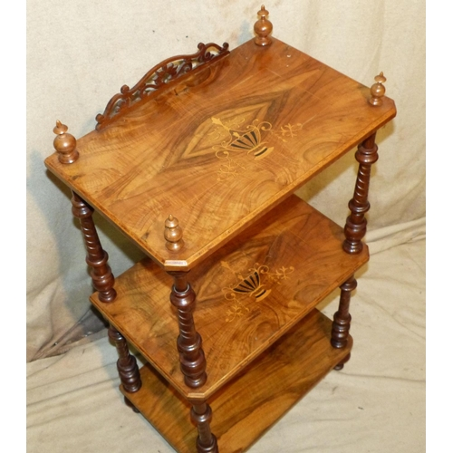 883 - A Victorian Burr Walnut 3-Tier Whatnot having inlaid marquetry Vase, Floral and string decoration, r...