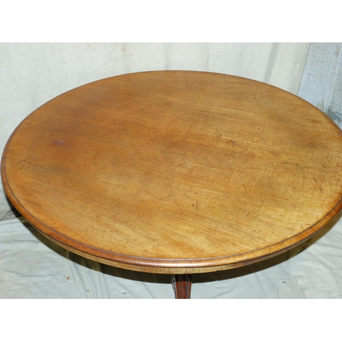 890 - A 19th Century Mahogany Round Tilt Top Loo Table having carved bulbous stem with 3 cabriole legs wit...