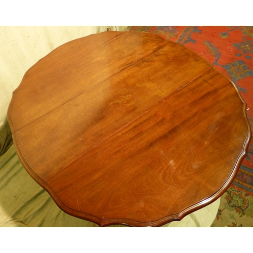901 - A Mahogany Scalloped Drop-Leaf Dining Table on square tapering legs having hairy claw and ball feet,...