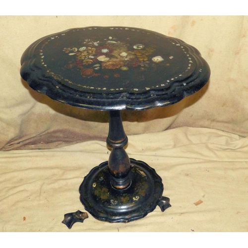 902 - A 19th Century Papier Mache Oval Tilt Top Occasional Table having inlaid Mother of Pearl and painted...
