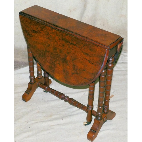 903 - A Victorian Burr Walnut Oval Drop-Leaf Sutherland Table on Bobbin Double-End Supports with splayed l...