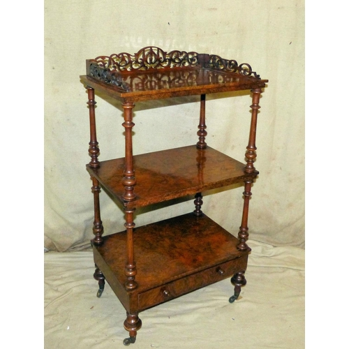 904 - A Victorian Burr Walnut 3 Tier Whatnot having pierced gallery top, round turned supports, 1 long dra...