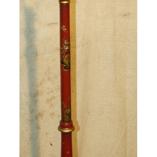 908 - A Chinoiserie Standard Lamp on red and gilt ground having oriental figure and landscape decoration, ...
