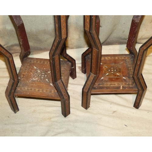 910 - A Pair Eastern Square Torchere having all over inlaid parquetry, boxing and stringing decoration, on...