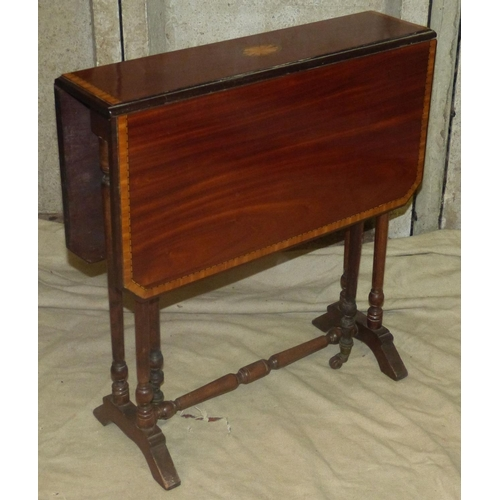 912 - An Edwardian Mahogany Sutherland Table having inlaid shell motif, banding and boxing, round turned l...