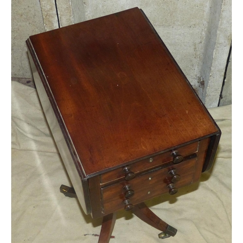 915 - A 19th Century Mahogany Drop-Leaf Workbox having reeded rim, 3 drawers, 3 dummy drawers to reverse h...