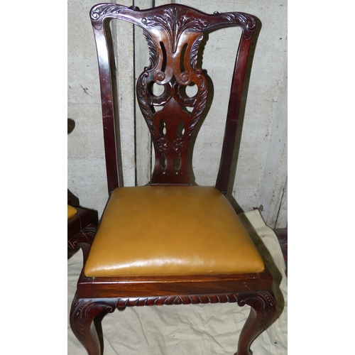 918 - A Set of 10 Early 20th Century Mahogany Chippendale Style Dining Chairs having pierced splat backs w...