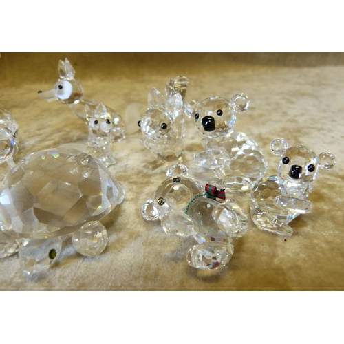 92 - 11 x Swarovski Crystal Animals, foxes, squirrel, Teddy bear, tortoise etc...