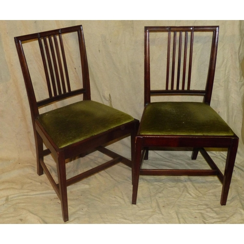 920 - A Set of 4 Mahogany Single Chairs having stick backs, green velvet drop-in seats on square tapering ...
