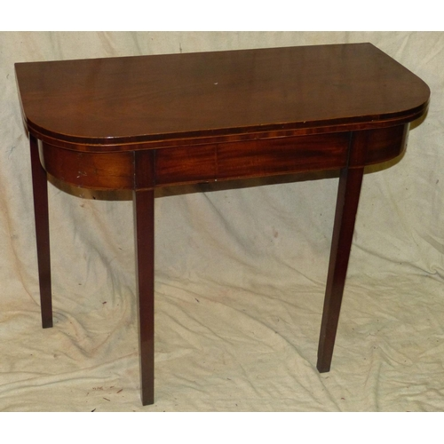 921 - A 19th Century Mahogany Tea Table having inlaid banding with hinged top enclosing marquetry motif an...