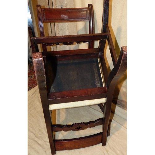 927 - A Set of 6 19th Century Mahogany Single Dining Chairs having carved bar backs, odd drop-in seats on ...