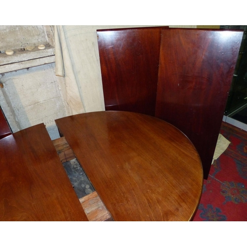 928 - A Large 19th Century D-End Draw Leaf Dining Table having 3 extra leaves on 5 round carved bulbous fl...