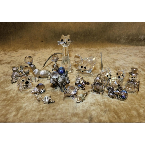 93 - 17 x Swarovski Crystal and Metal Figures of various animals (3 in need of restoration)...