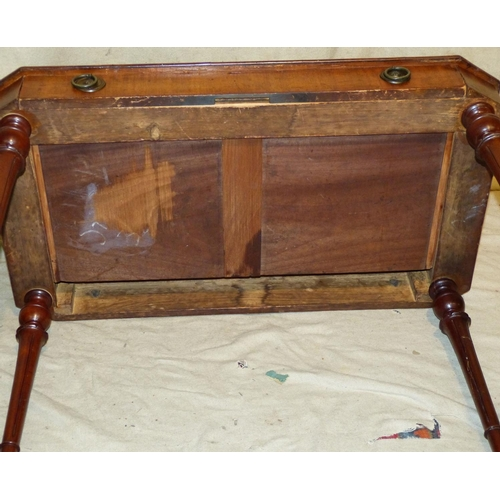 939 - A 19th Century Mahogany Side Table having green leather inset top,1 x long drawer with drop brass ri...