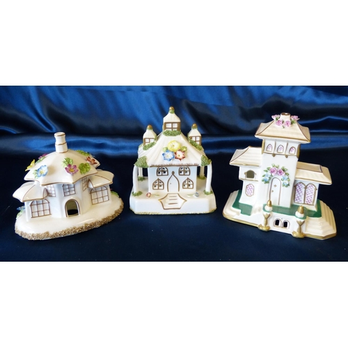 94 - 3 Coalport Pastel Burners in form of buildings