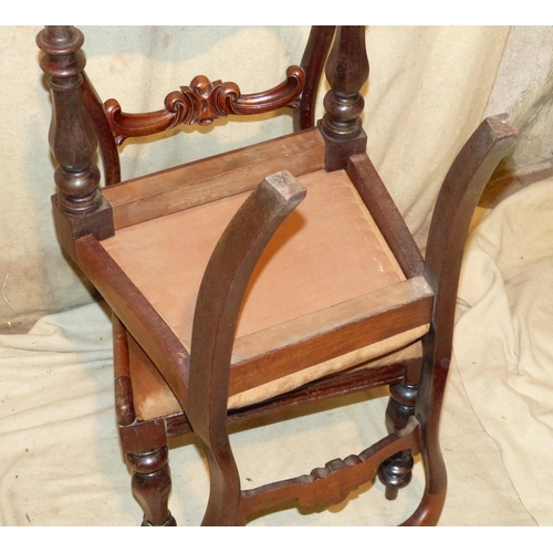 941 - A Set of 6 19th Century Mahogany Open Back Single Chairs having carved scroll bar backs, drop-in sea...