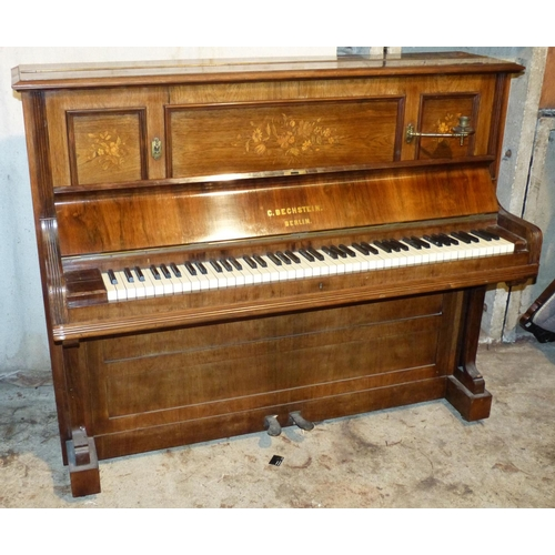 947 - C Bechstein Victorian Rosewood Iron Framed Overstrung Upright Piano, numbered P11623/21781, having i...
