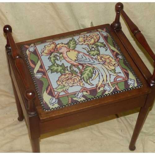 948 - A Mahogany 2-Handled Piano Stool having needlework overstuffed seat on round tapering legs, 49cm wid...