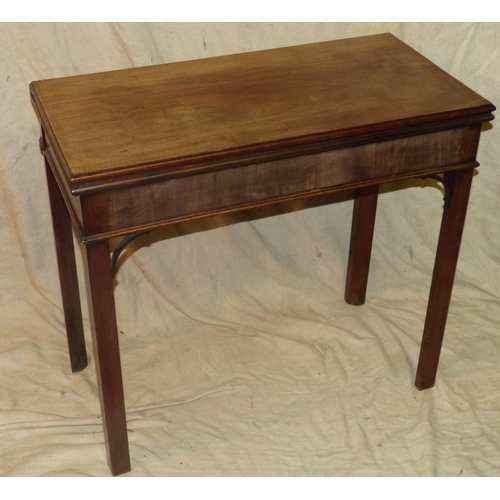 949 - A 19th Century Mahogany Tea Table having hinged top, square chamfer legs, 82cm wide...