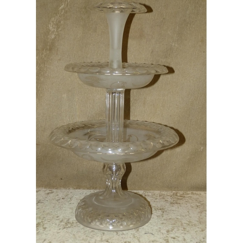 99 - An Engraved and Cut Glass 2-Tier Centre Piece having floral, leaf and thumb pattern decoration, 47cm...