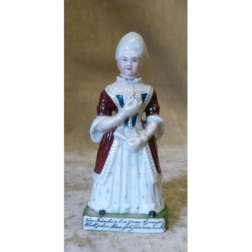 A Victorian China Nodding Head Figure Of A Lady With Verse To Base 13cm High