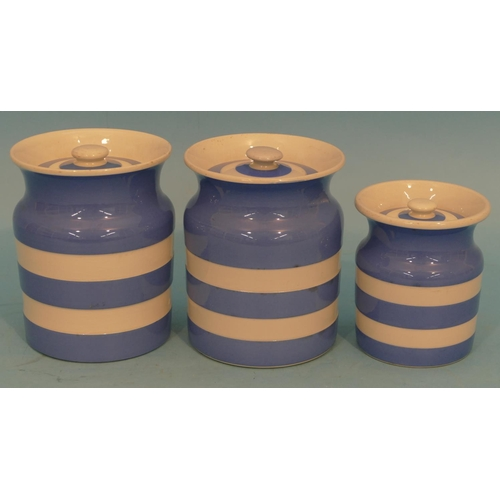 12 - A Pair of TG Green Cornishware Round Lidded Storage Jars on blue and white ground, 15cm high, also a...