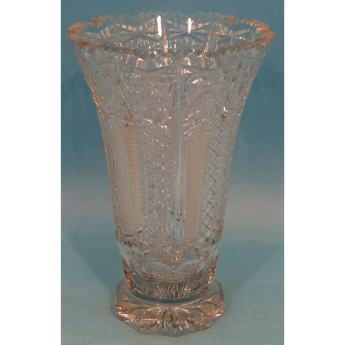 28 - A Heavy Cut Glass Round Trumpet Shaped Vase having tooth-cut rim on chamfer base, 31cm high....