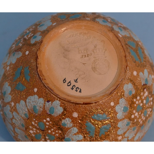 56 - A Royal Doulton Glazed Earthenware Round Bulbous Shaped Jug on brown ground with green and blue flor...