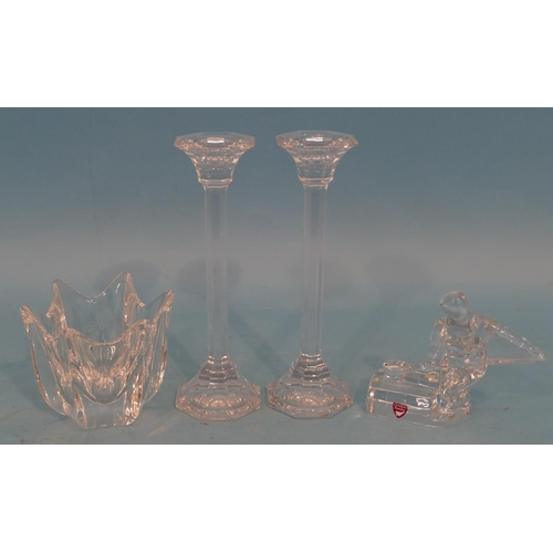 59 - A Pair of Villeroy & Boch Crystal Candlesticks, a Orrefors figurine of a foundry man and another Orr...
