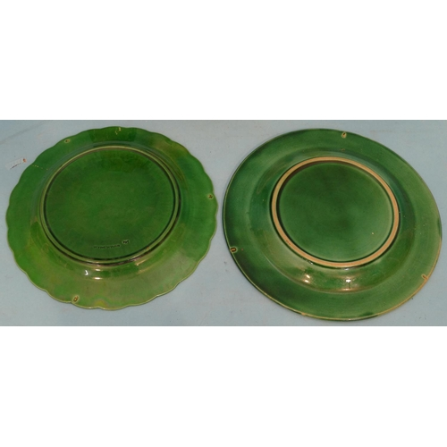7 - A Wedgwood Green China Plate having leaf decoration, a similar cabbage-ware plate, a smoked glass sq...