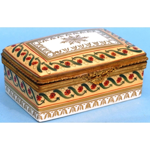 14 - A Limoges Porcelain Rectangular Shaped Trinket Box having hinge lid with gilt metal rim on white  an...