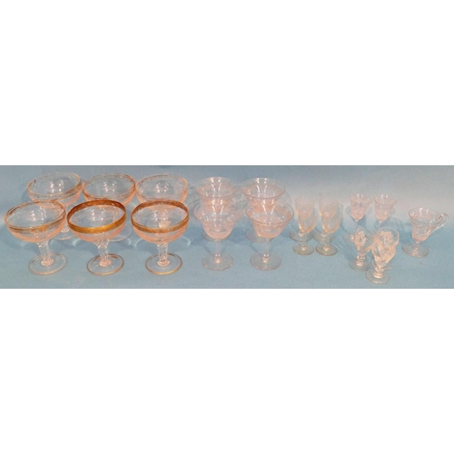 2 - A Set of 6 Champagne Glasses having gilt and engraved decoration on twist stems, also a small quanti...