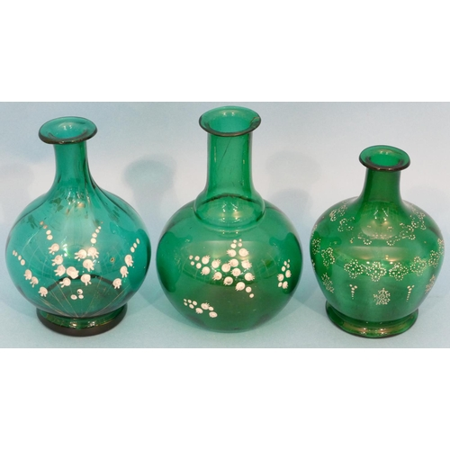 36 - 3 x Victorian Mary Gregory Style Green Glass Round Bulbous Thin Necked Vases, largest 16cm high....