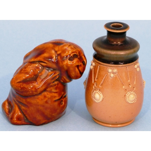 45 - Ethel Beard Glazed Earthenware Figure of a rabbit on brown ground, 6cm high, also a Doulton small ea...