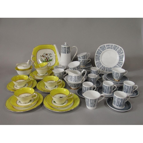 11 - A collection of Tuscan China Manhattan pattern tea and coffee wares comprising coffee pot,sugar bowl...