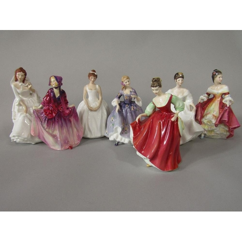 12 - A Royal Doulton figure of Sweet Anne HN1496 together with six further Royal Doulton figures of femal...