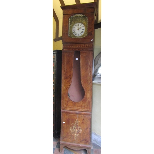 An early 19th century continental long case clock,the pine case with original grained and detailed finish,enclosing a convex enamelled dial within an embossed brass framework,230cm high