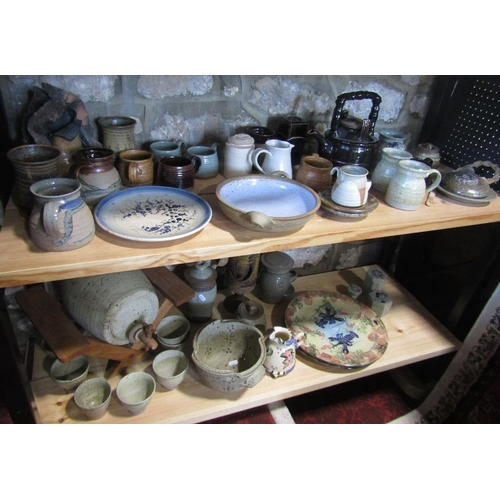 2 - A collection of studio pottery wares including a pair of Tain Pottery plates in the Shandwick patter...