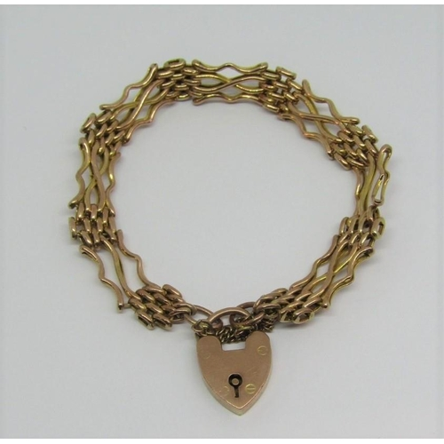 9ct gate link bracelet with heart padlock clasp,10.4g